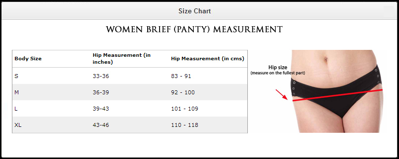 panty size chart with pictures: Amante panty pfcp05 pack of 3 seekrets